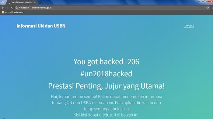 Hari Pertama UNBK, Laman Website Kemdikbud Justru Di Jahili Hacker